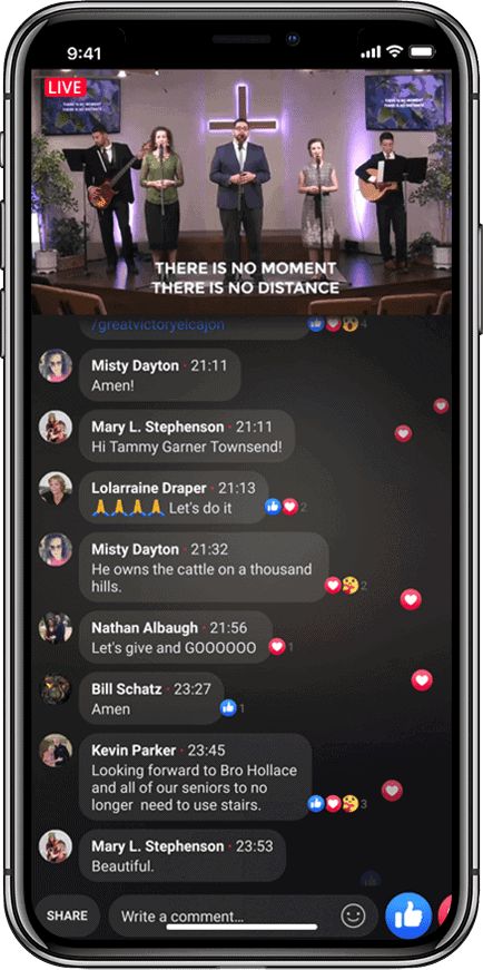 iphone-x of facebook live-stream at victory bapitst church