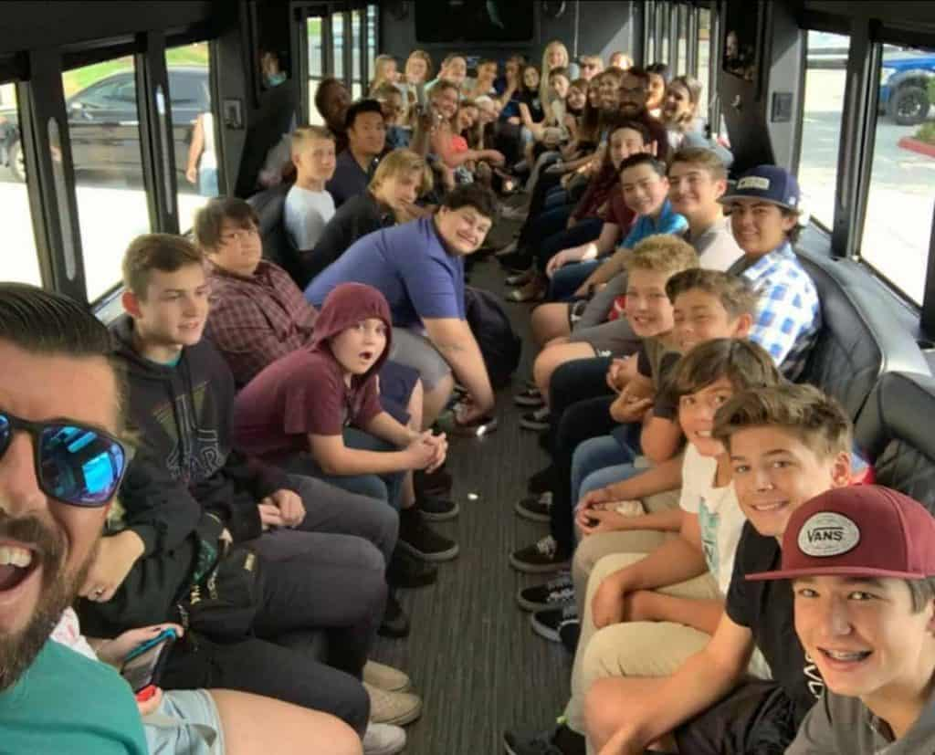 teens in party bus heading to youth rally