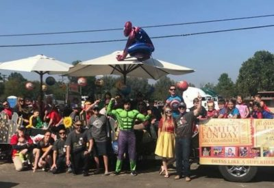 church event in lakeside ca with people dressed up as super heroes